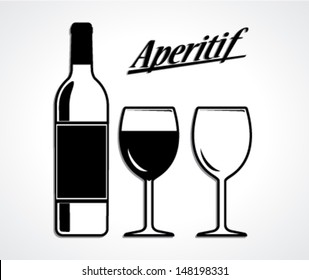 wine bottle and cup set/aperitif/ black white vector illustration