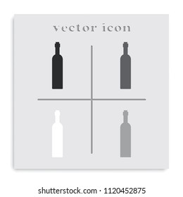 Wine bottle flat black and white vector icon.
