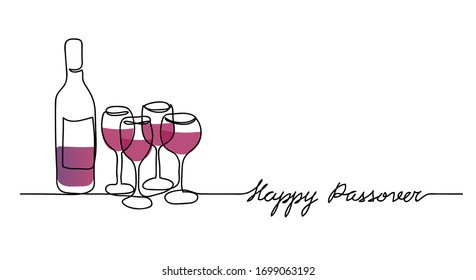 Wine bottle and four wine glasses vector illustration. Happy passover, jewish holiday pesach. One continuous line drawing