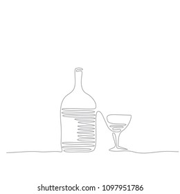 wine bottle and glass - continuous line drawing