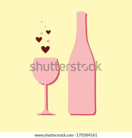Wine Bottle Wine Glass Hearts Valentines Stock Vector Royalty Free