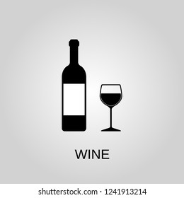Wine bottle and glass icon. Wine bottle and glass symbol. Flat design. Stock - Vector illustration