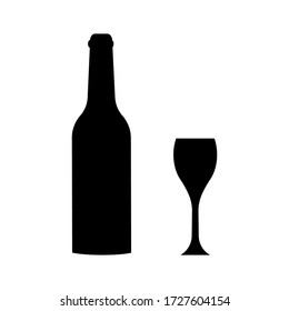 Wine bottle  and glass on white  background . Black bottle  vector icon.