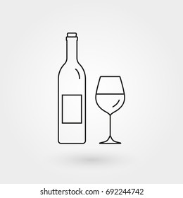Wine bottle with wine glass outline icon. Minimal line design. Vector illustration.