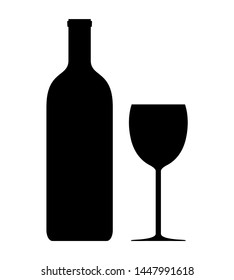 Wine bottle and wine glass silhouette. Simple vector illustration isolated on white background.