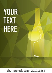 Wine bottle and glass with white wine on colorful background