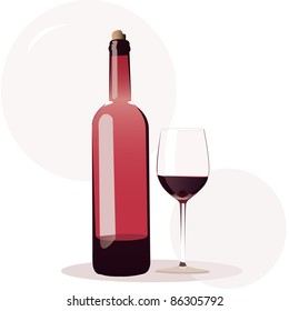 wine bottle with wine glasses vector illustration