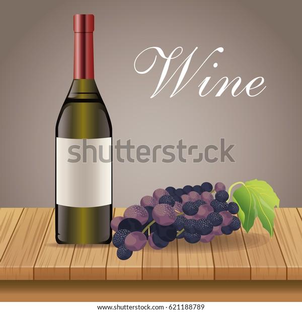 Wine Bottle Grape Wooden Decoration Stock Vector Royalty
