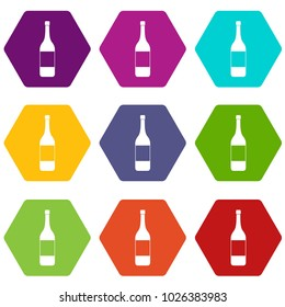 Wine bottle icon set many color hexahedron isolated on white vector illustration