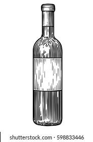 Wine bottle illustration, drawing, engraving, ink, line art, vector