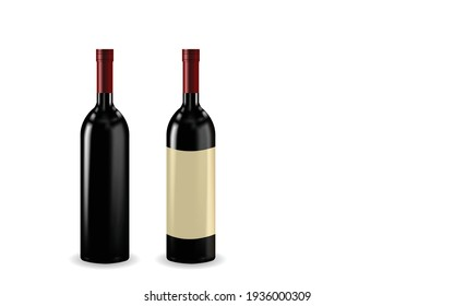 Wine bottle isolated with blank label for your text or logo. bottle of red wine mock up vector template. Bottle with colored liquid