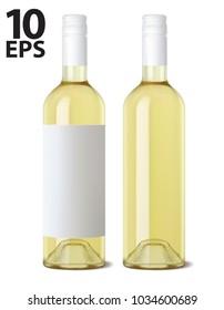 Wine bottle isolated. Realistic Vector 3d illustraton