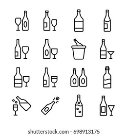 Wine Bottle Line Vector Icons Set