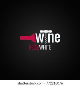 wine bottle logo on black background