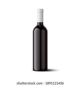 wine bottle mockup. vector realistic illustration