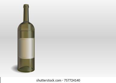 Wine bottle on the gray background vector illustration