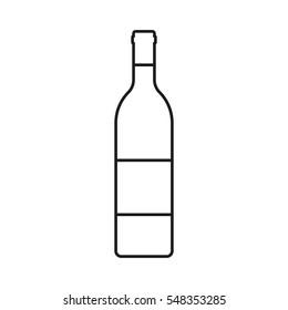 Wine bottle outline icon isolated on white background. Vector illustration.