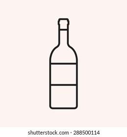 Wine bottle outline icon, modern minimal flat design style, vector illustration
