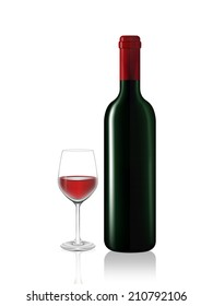 Wine bottle and red wine glass on white background. Vector illustration