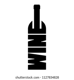 Wine bottle silhouette from the letters of a wine word