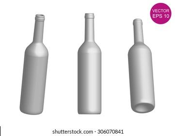Wine bottle template. 3D. Vector Illustration. EPS10