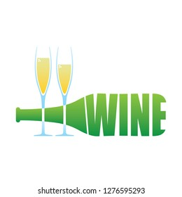Wine Bottle and two glasses logo isolated