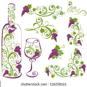 Wine bottle and wineglass with grapevines. Vector design elements.