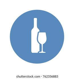 Wine bottle and wineglass vector icon placed in blue circle
