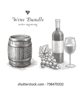 Wine bottle, wood barrel, glass of wine and grapes. Hand drawn engraving style illustrations.