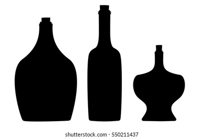 Wine Bottles, Apothecary Bottles, Liquor Bottles, Silhouettes in Different Shapes