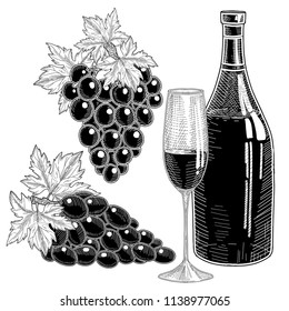 Wine bottles, bunch of grapes and glass with grap wine.