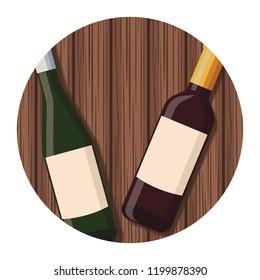 Wine bottles drink