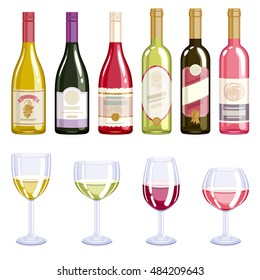 Wine bottles and glasses icons set. Alcohol vector illustration. Red wine, white wine, rose wine.