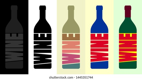 Wine bottles icon with labels, text in different color, for card design