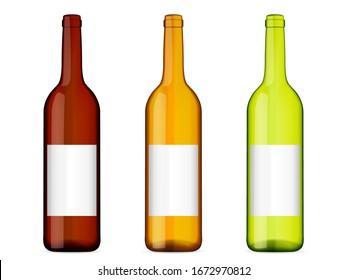 Wine bottles on a white background. Vector illustration.