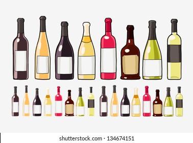 wine bottles set isolated on white
