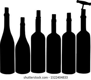 Wine bottles, vector art, black
