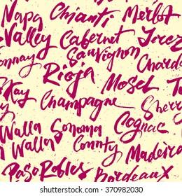 Wine Calligraphic Seamless Pattern.