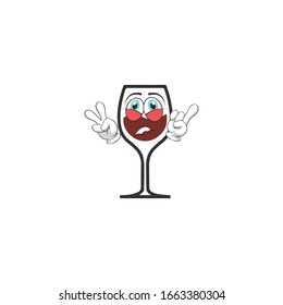 wine cartoon characters design with expression. you can use for stickers, pins, mascot or patches