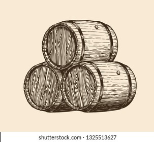 Wine cellar, winery. Wooden barrels with wine, sketch. Vintage vector illustration