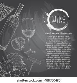 wine. chalk drawing style. chalkboard vector illustration. wine background.