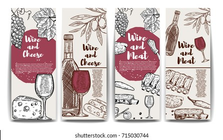Wine, cheese, olives, meat banners. Wine and meat flyer templates. Vector illustration.