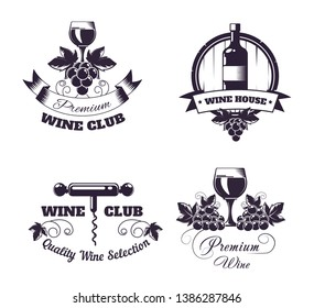 Wine club house logo templates or winemaking bar shop label set. Vector isolated wine bottle and wooden barrel, glass and corkscrew opener, grape vine vintage with premium ribbon and stars