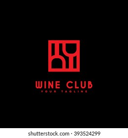 Wine club logo template design. Vector illustration.