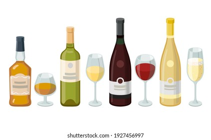 Wine and cognac bottles and wineglasses. Grape product, vector illustration isolated on white background.