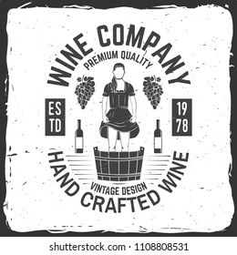 Wine company badge, sign or label. Vector illustration. Vintage design for winery company, bar, pub, shop, branding and restaurant business. Coaster for wine glasses