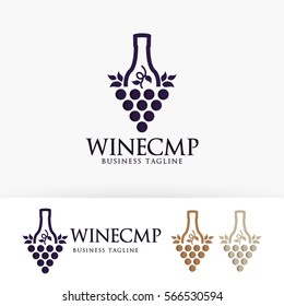 Wine company. grape, bottle, alcohol, brand. Vector logo template