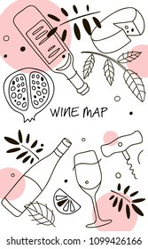 Wine composition. Line art graphic. Restaurant template. Vector illustration