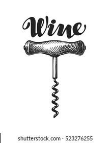 Wine corkscrew sketch. Vector illustration