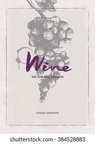 Wine design template.Wine menu. Drawing hand image, vector illustration.